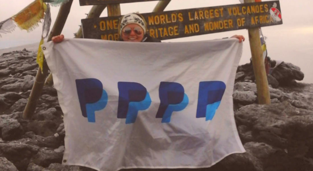 Aisling, PayPal, atop Kilimanjaro