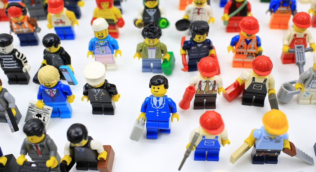 Aon workers survey Lego figures