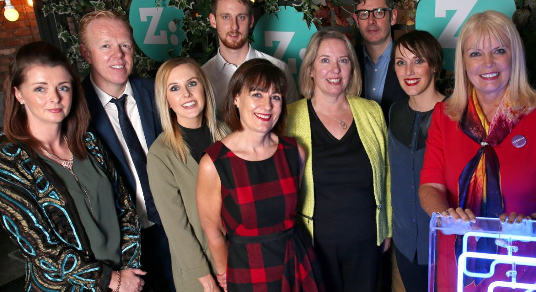 From left: Leeanne Mimnagh from Pramerica; Wesley McGrath from Enterprise Ireland; Leanne Macken and Ross Pinkard from BMS; Yvonne McWey from Bank of Ireland; Jan Smullen from EY; Brian Ó hOisín and Jackie Slattery from Career Zoo; Minister for Jobs Mary Mitchell O'Connor, TD.