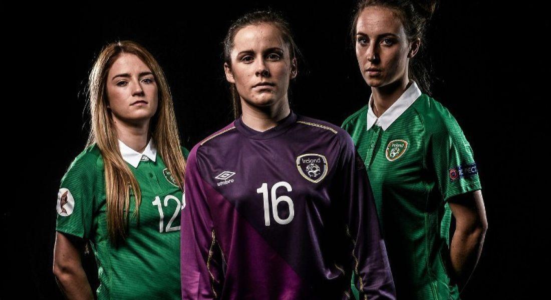 Football: Karen Duggan (right) with team-members on Ireland's women's football team