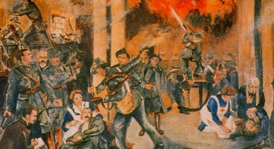 """1916 rising: """"Birth of the Irish Republic"""" by Walter Paget, depicting the GPO during the shelling, via Public Domain"""