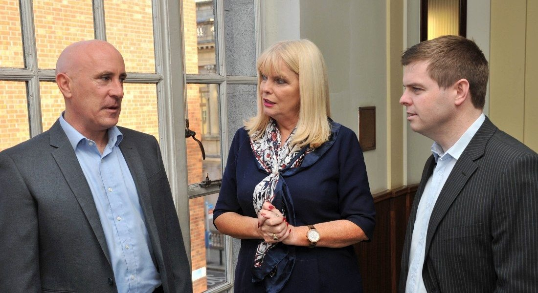 From left: Rob Curley, MD of Singlepoint; Mary Mitchell O'Connor TD, Minister for Jobs, Enterprise and Innovation; Brian Seery, technical consulting director at Singlepoint. Image: Maura Hickey