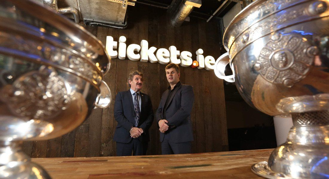 Minister of State for Training, Skills and Innovation, John Halligan, TD, with John O'Neill, CEO of Tickets.ie. Image: Jason Clarke