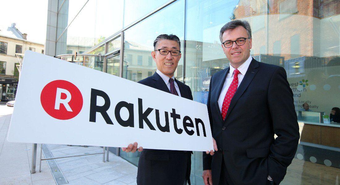 Rakuten CIO Yasufumi Hirai with Alastair Hamilton of Invest NI. Image: Kelvin Boyes / Press Eye