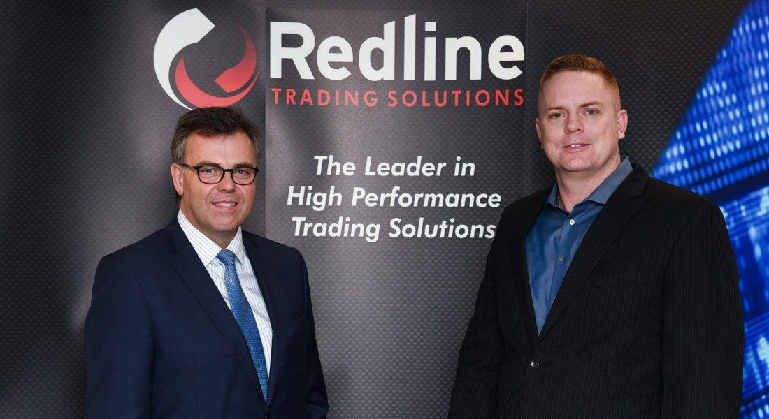 Alastair Hamilton, Invest NI, with Rob McCollum, Redline Trading Solutions (right). Image: InvestNI