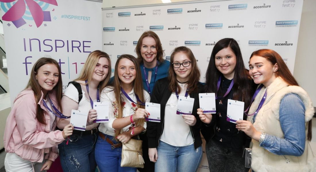 A group from Teen-Turn attended Inspirefest through a Pay It Forward bursary sponsored by BT. Image: Conor McCabe Photography