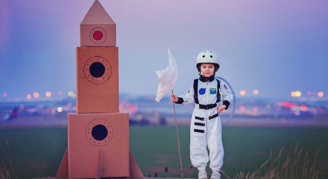 Little astronaut boy