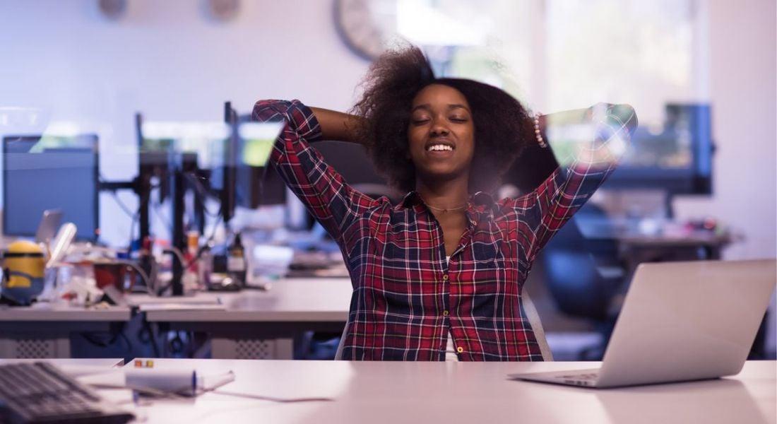 Woman taking a work break