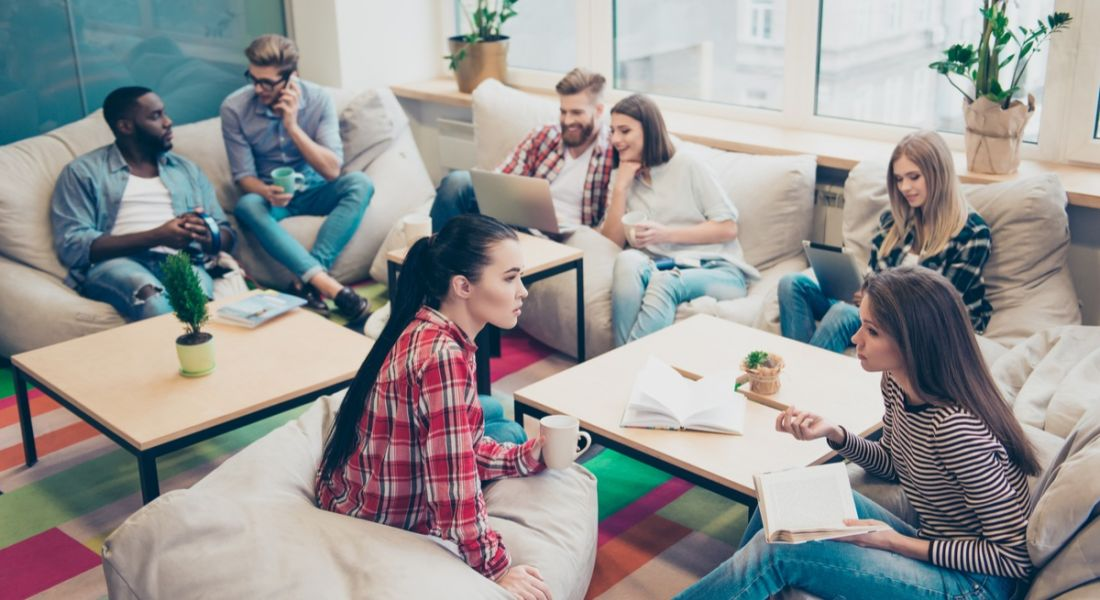 A group of millennials working in a relaxed atmosphere