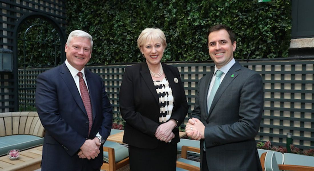 Pictured L – R: Kevin Clark CEO of Aptiv, Minister Heather Humphreys and Martin Shanahan, CEO IDA Ireland. Image: Maxwell Photography