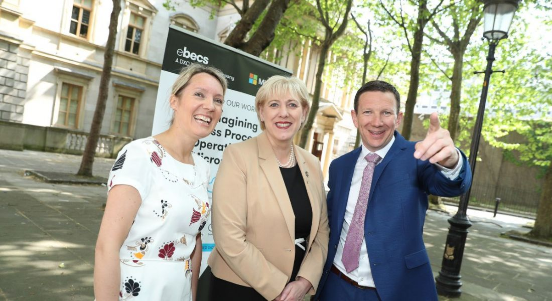 Picture shows Minister Humphreys with James Finnegan eBecs and Victoria McKenzie, IDA.