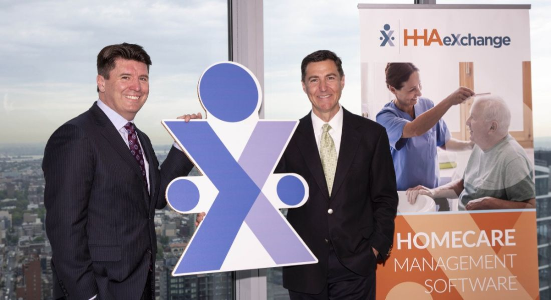 From left: Gary Hanley, senior VP of the Americas, Invest NI; and Greg Strobel, CEO of HHA Exchange. Image: Press Eye