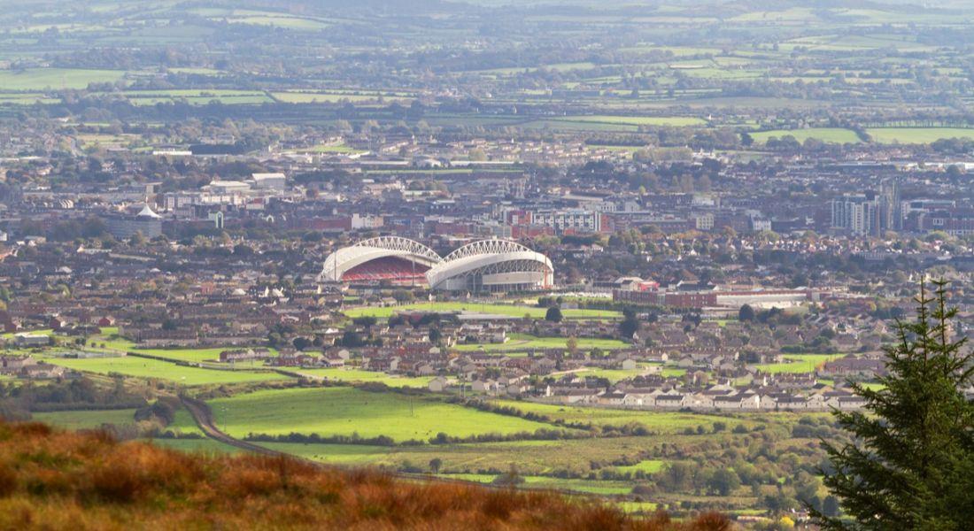 Panorama of Limerick with stadium