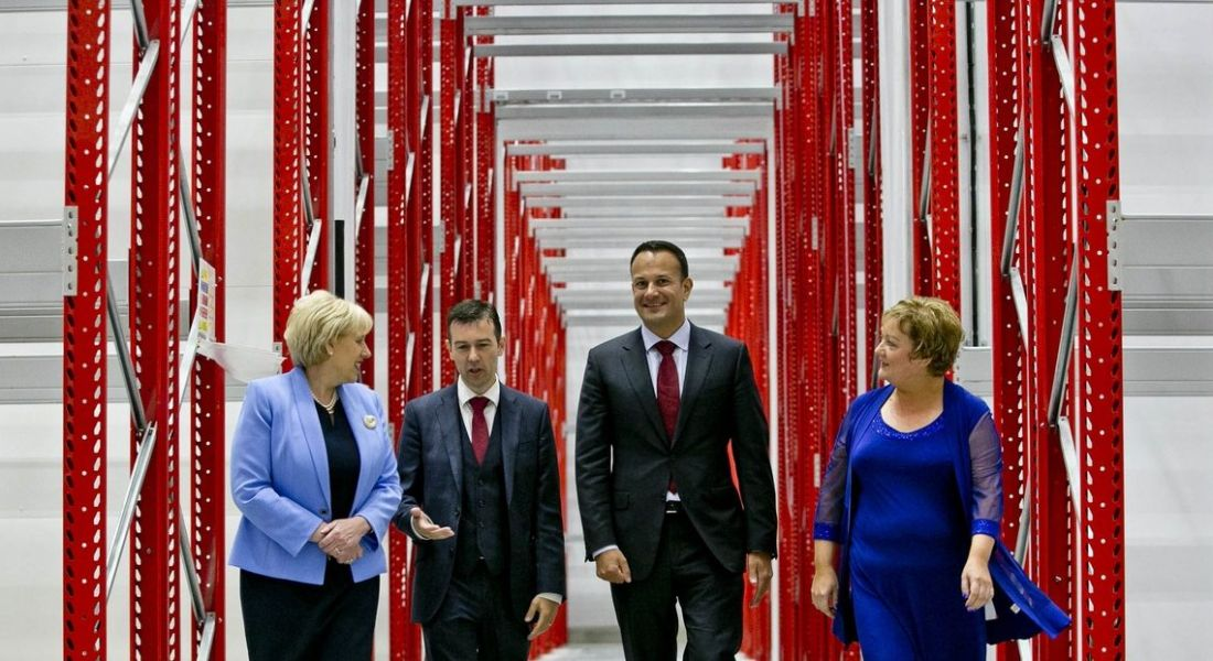 From left: Minister for Business, Enterprise and Innovation Heather Humphreys TD, Micheal McArdle, Managing Director and CEO of McArdle Skeath, Taoiseach Leo Varadkar and Siobhan McArdle, director of McArdle Skeath.
