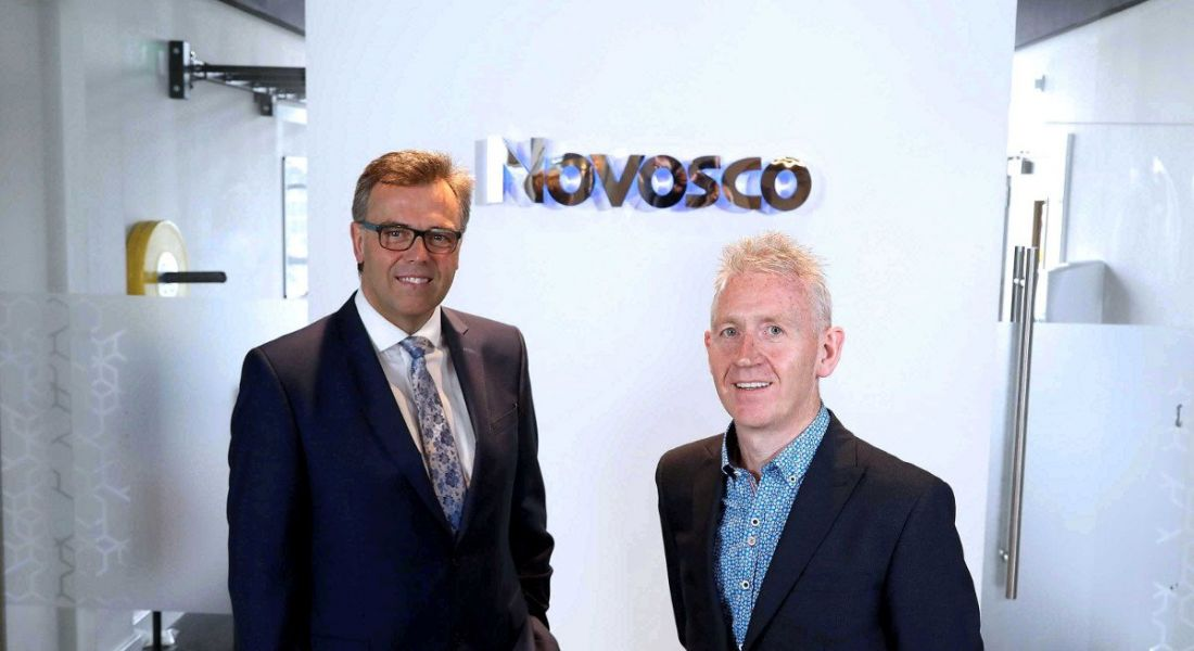 From left: Alastair Hamilton, CEO, Invest NI and Patrick McAliskey,managing director,Novosco. Image: Invest NI