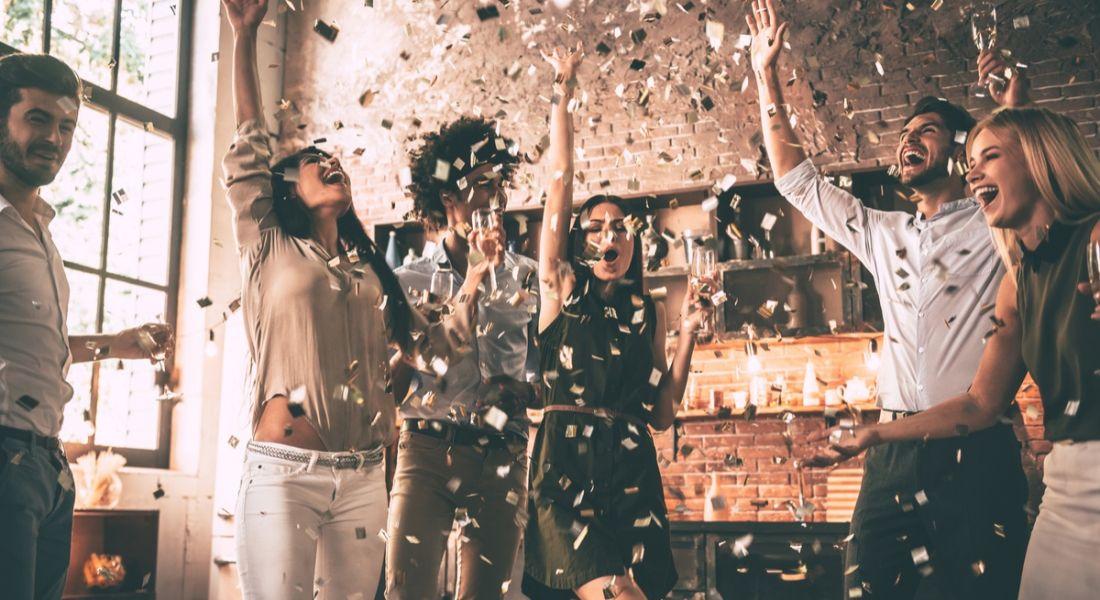 Amazon jobs. People celebrating with confetti
