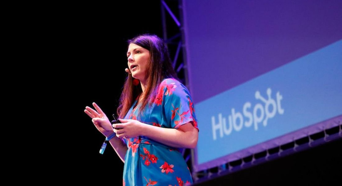 Katie Burk, Chief People Officer, HubSpot speaking at Inspirefest 2018 about the gender gap
