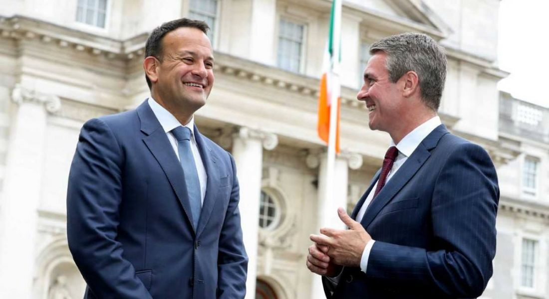 Pictured: An Taoiseach Leo Varadkar with EY managing partner Frank O'Keeffe. Image: Mark Maxwell