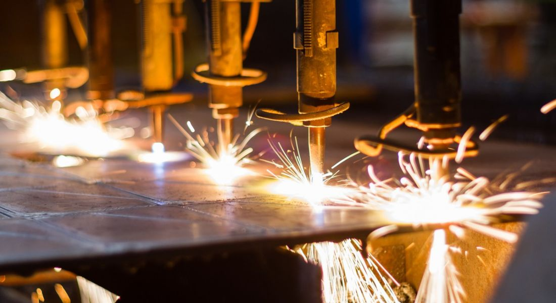 LPG cutting with sparks up close. These companies are all hiring in manufacturing.