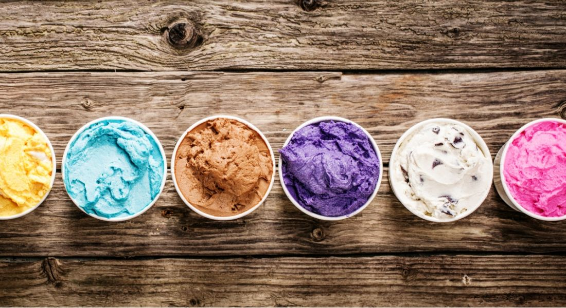 An assortment of colourful ice-cream tubs to symbolise the different graduate programme choices.