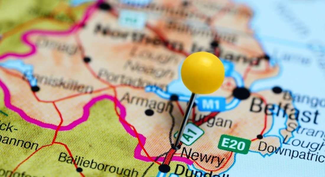 Newry pinned on a map of Northern Ireland