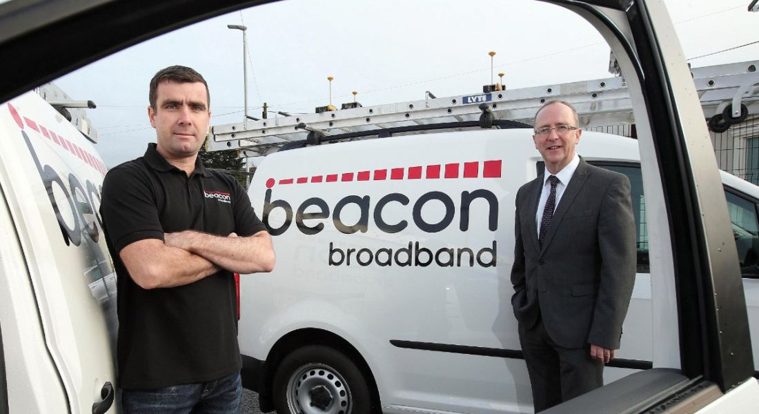 Pictured (L-R) are Brian McCourt, Beacon Broadband, and Des Gartland, Invest NI