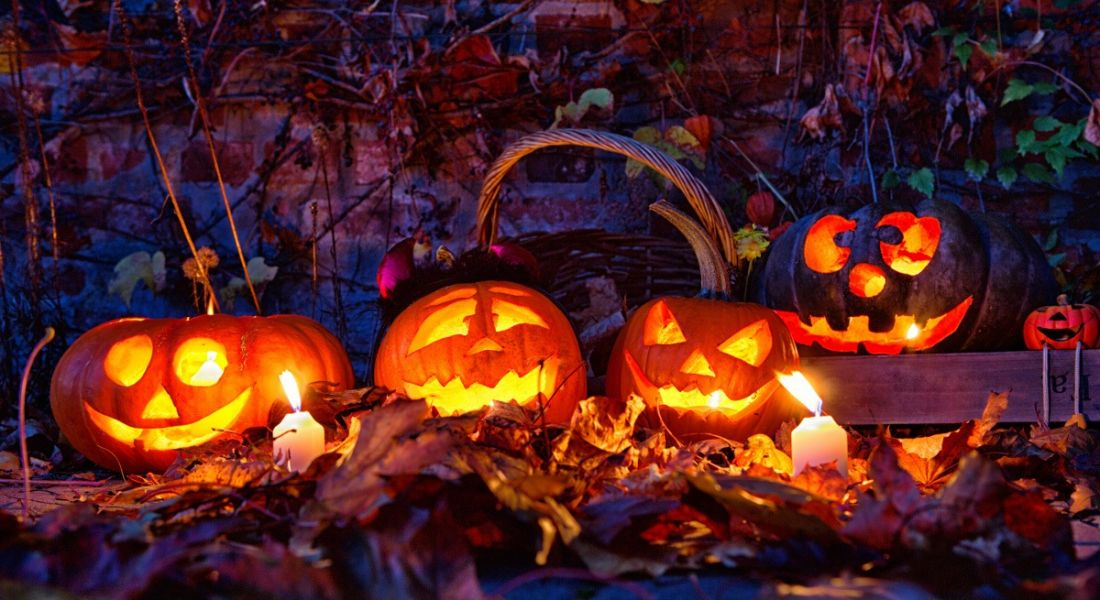 A group of lit up jack-o-lanterns with smiling faces carved on. The pumpkins are sitting on a bed of autumnal leaves in a forest at night.