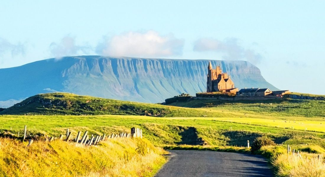 View of Sligo's Benbulben mountain with a blue sky.