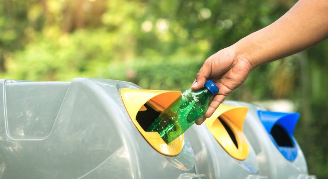 View of a hand placing a plastic bottle into a recycling bin on a sunny day.