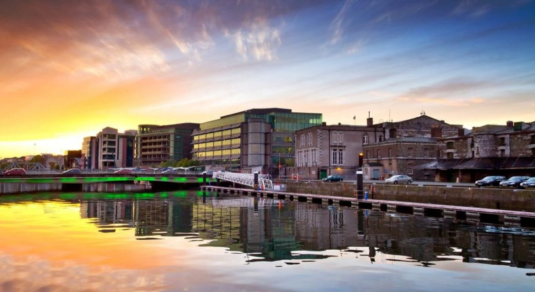 Beautiful image of Cork city centre and River Lee at sunset.