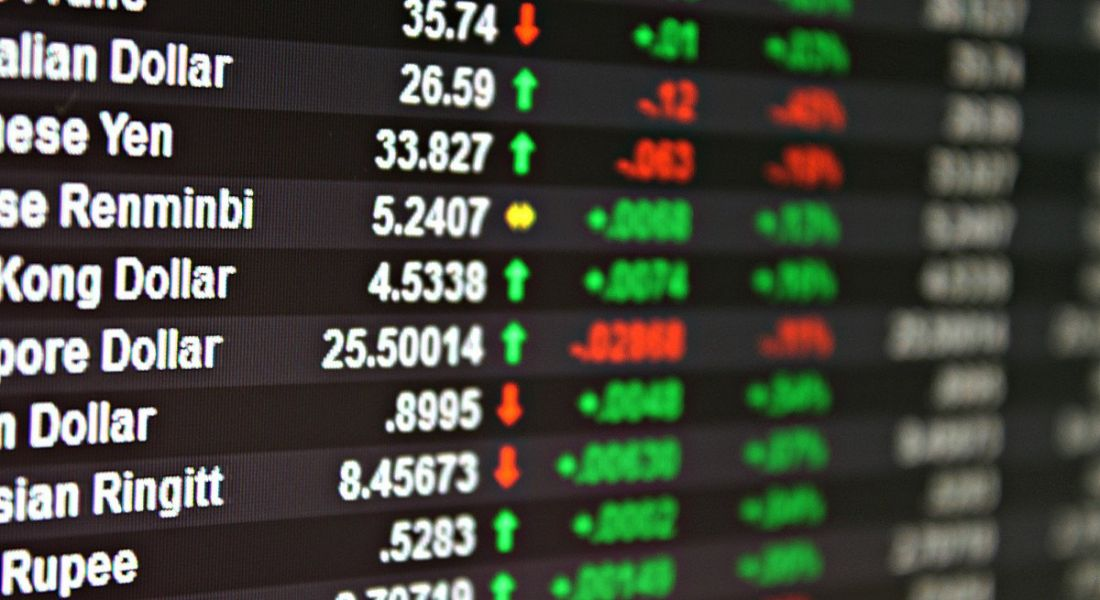 A view of a trading board for different foreign exchange currencies.
