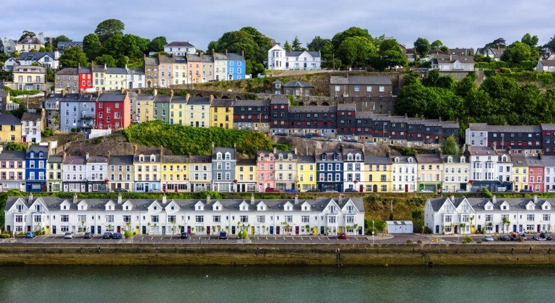 Terraces of houses alongside the river Lee in Cobh.