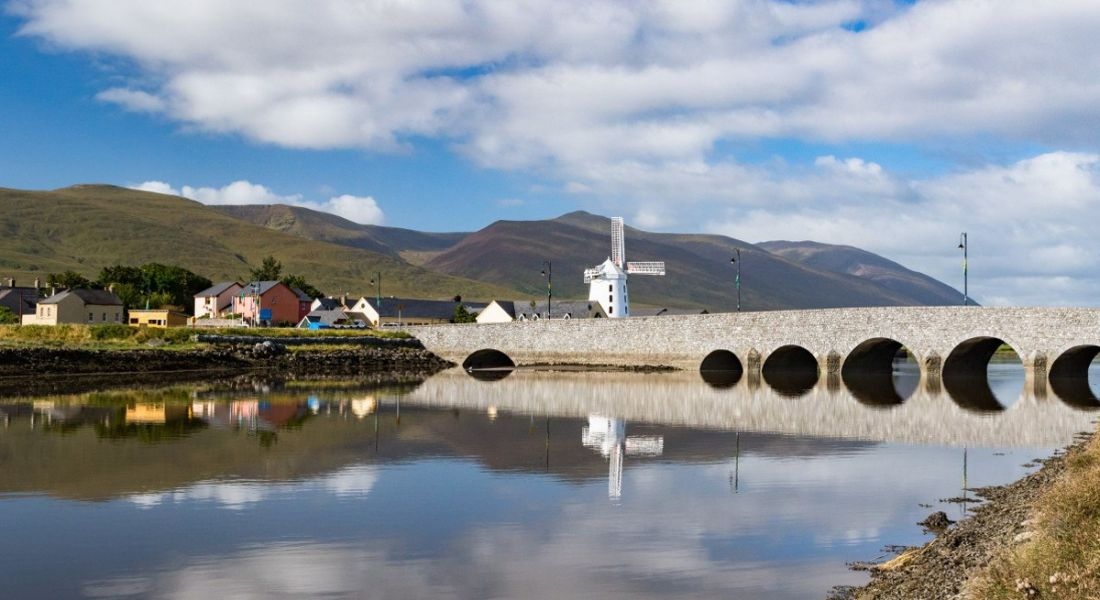 Panoramic view of Blennerville near Tralee on the Dingle peninsula in County Kerry, Ireland.