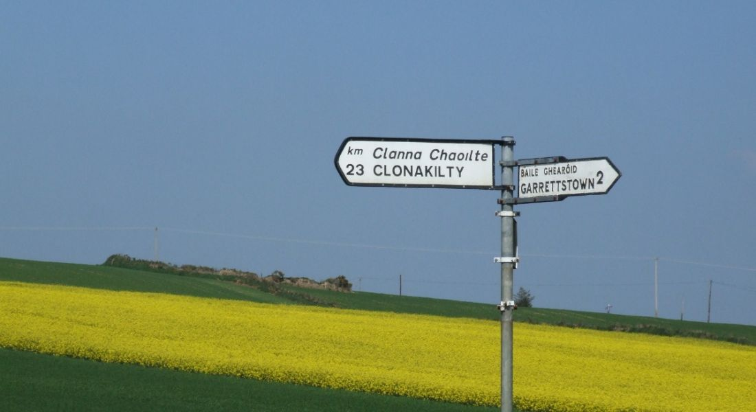 View of road sign for Clonakilty against a blue, cloudless sky and manicured fields of grass with rapeseed.