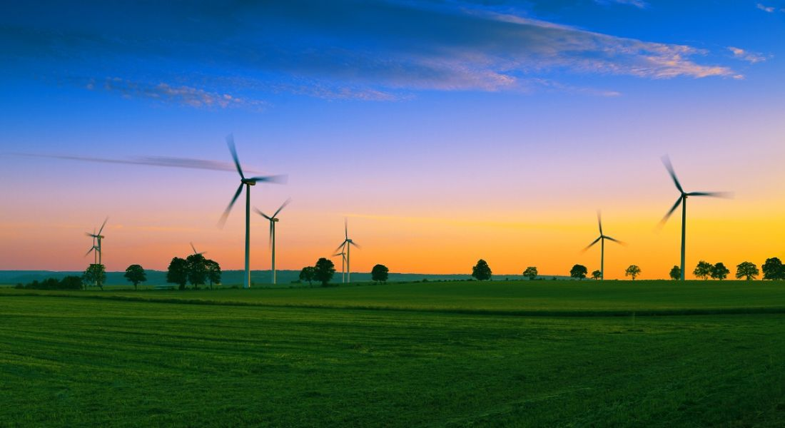 View of verdant field and clear sunset, the horizon dotted with wind turbines turning and generating renewable energy.