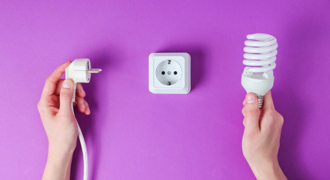 View of hands, one holding a light bulb and the other holding a cord, with a European plug in the middle against a vibrant violet background.