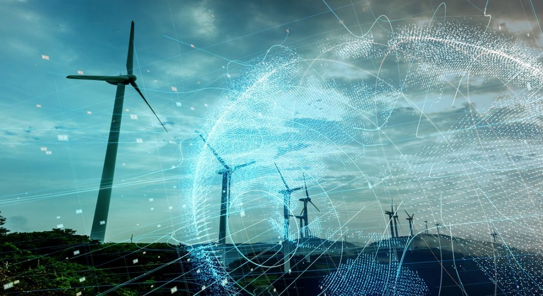 A modern design representing technology and communications superimposed over windmills harnessing energy.