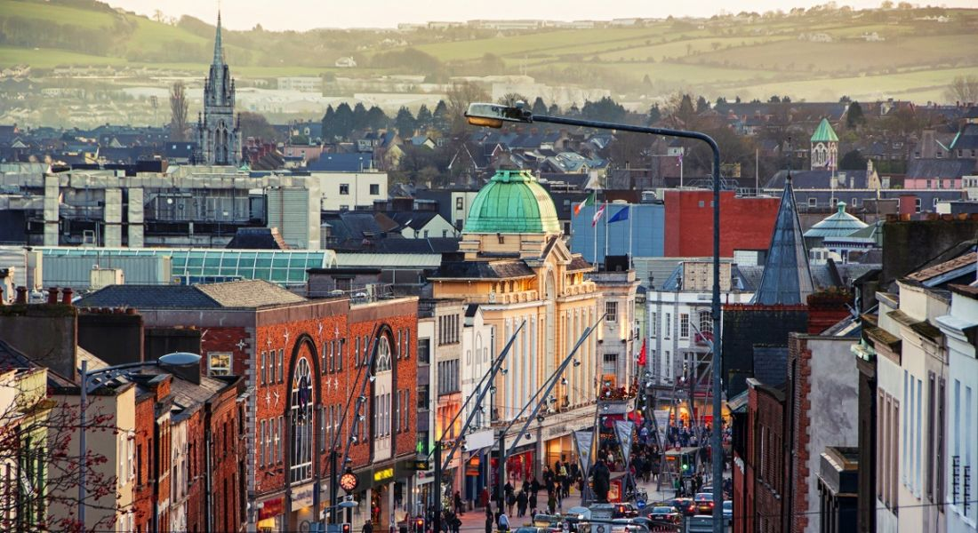 A busy overhead view of a bustling metropolitan area in Cork city centre.