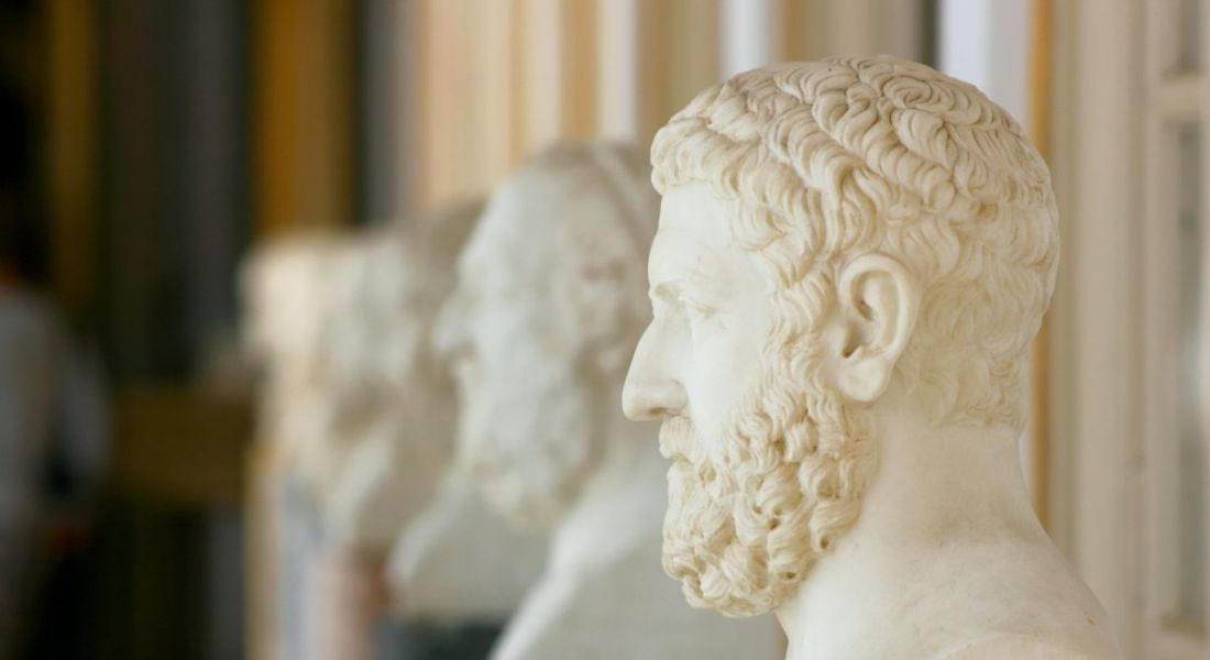 A view of alabaster busts of Ancient Greek philosophers.