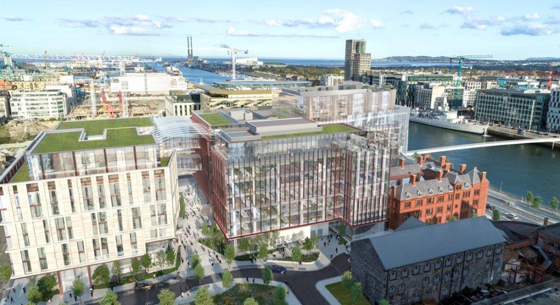 Aerial rendering of Salesforce Tower in Dublin.