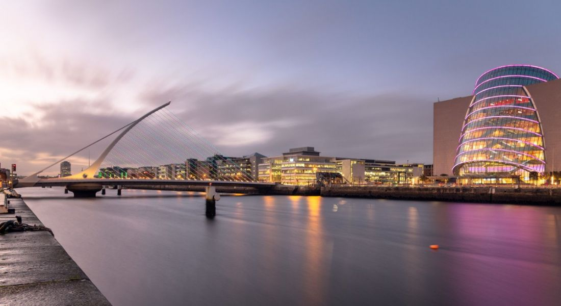 Beautiful view of Dublin skyline and River Liffey at twilight looking towards the IFSC.