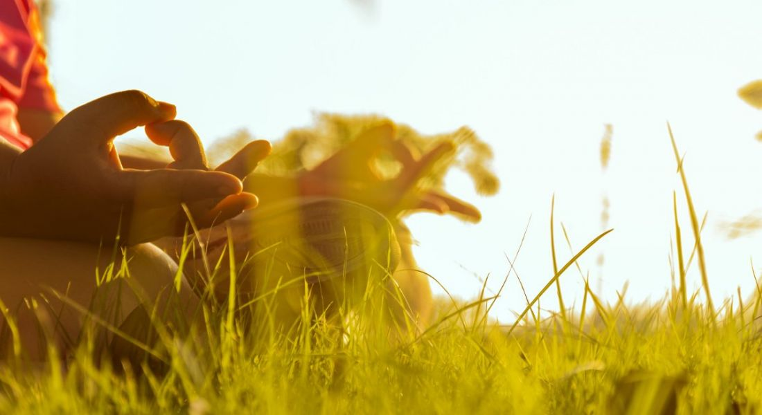 Close-up of a person's hands resting on their lap, doing yoga while sitting cross-legged on grass in the sun