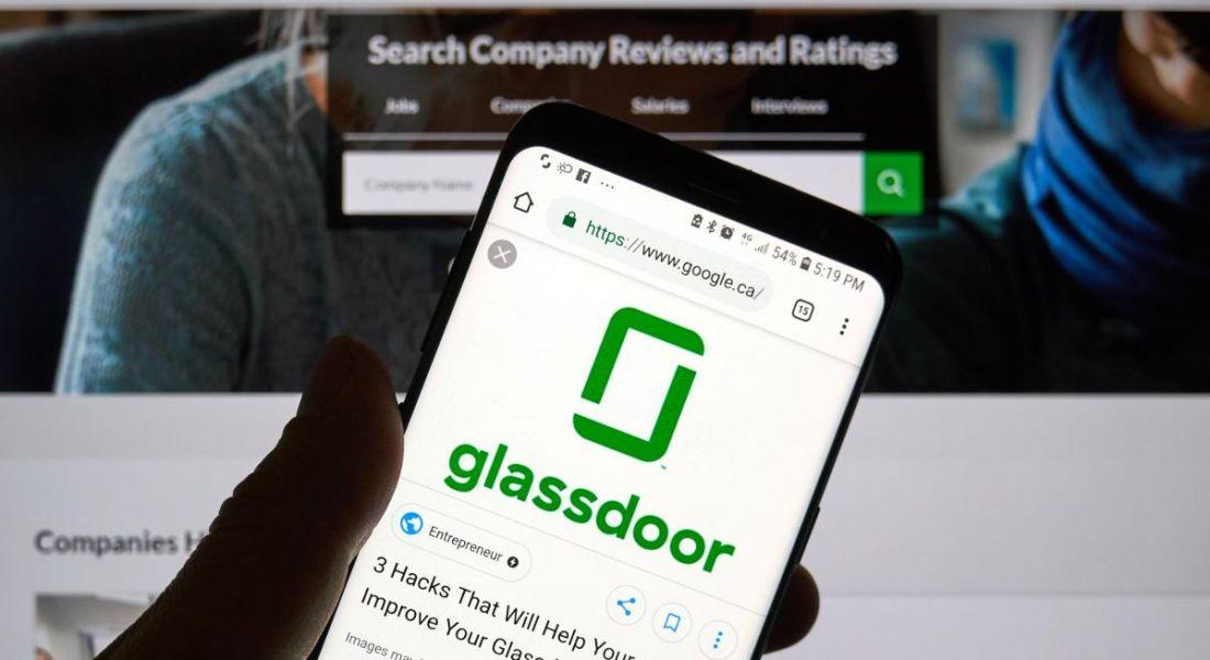 Glassdoor website open on mobile phone.