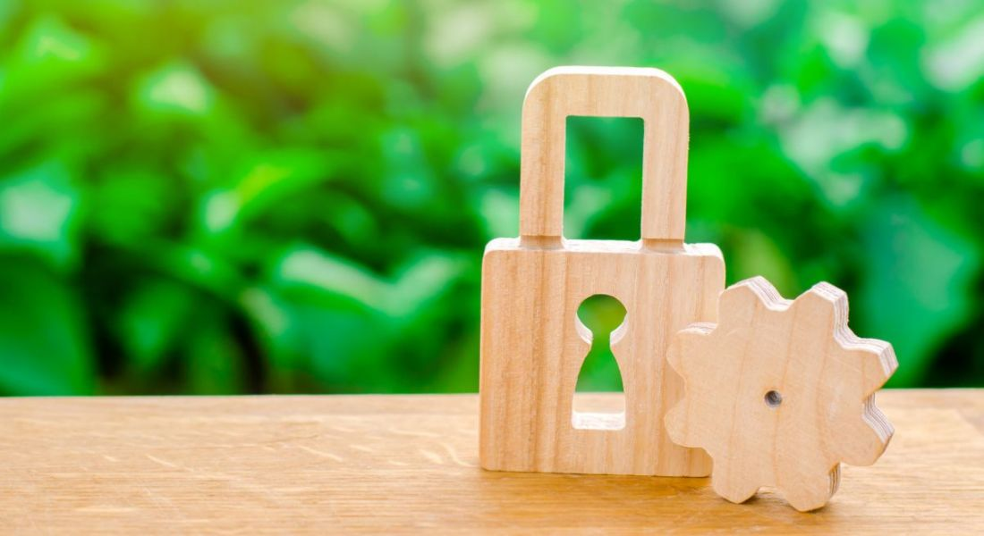 A wooden padlock and cog on a table with plants in the background.