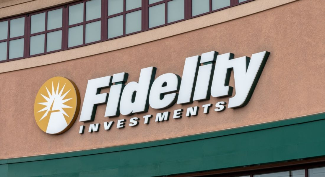 Fidelity Investments name and logo on the side of a building.