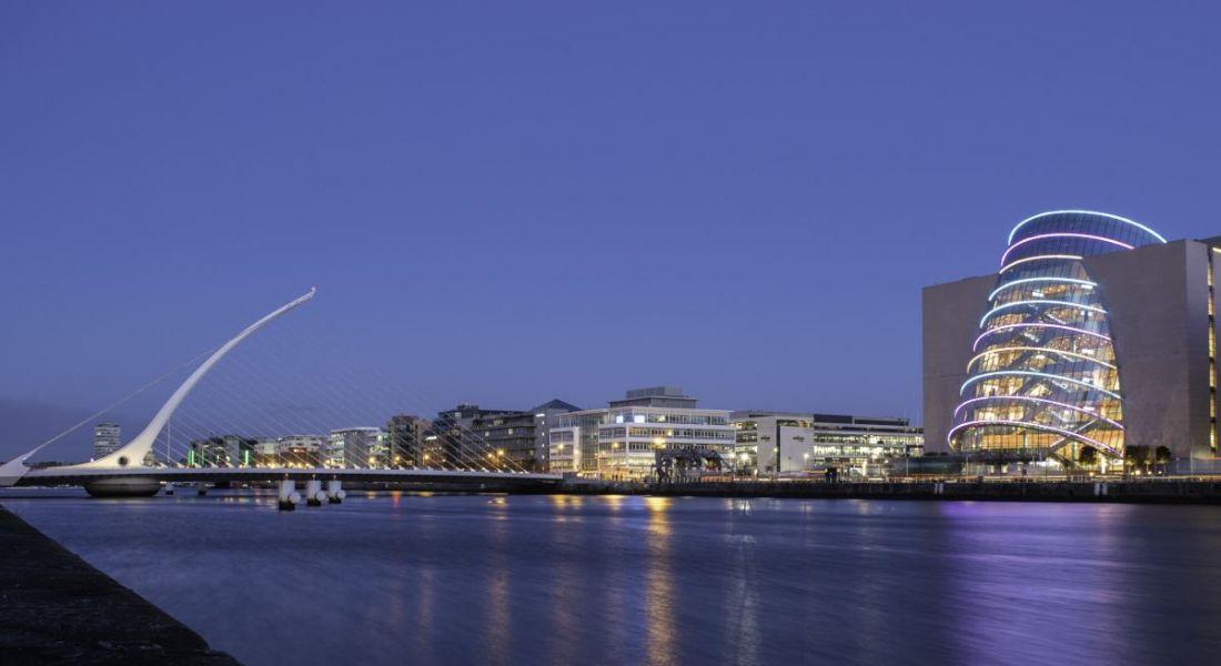 View of Dublin River Liffey at night.