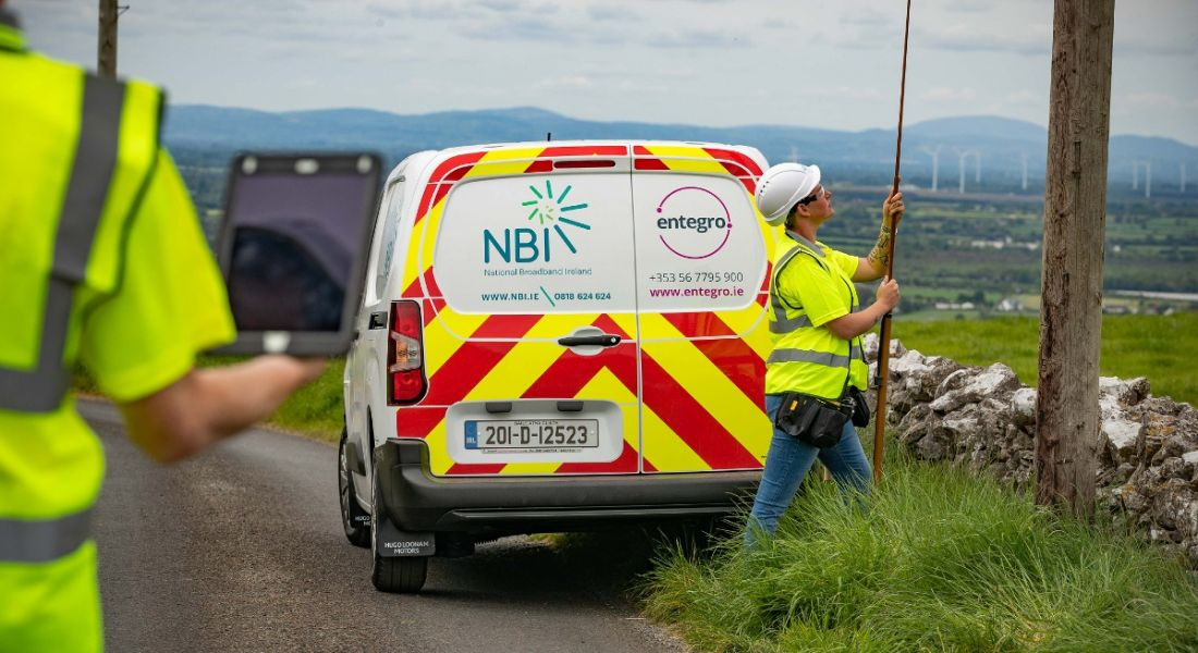 A van with the logos for Entegro and National Broadband Ireland is parked in a rural location.