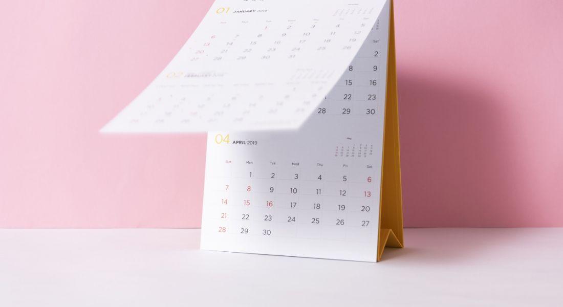 Paper spiral calendar on a pink background.