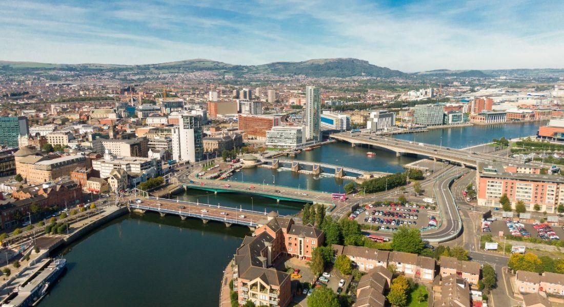 Aerial photo of Belfast city.