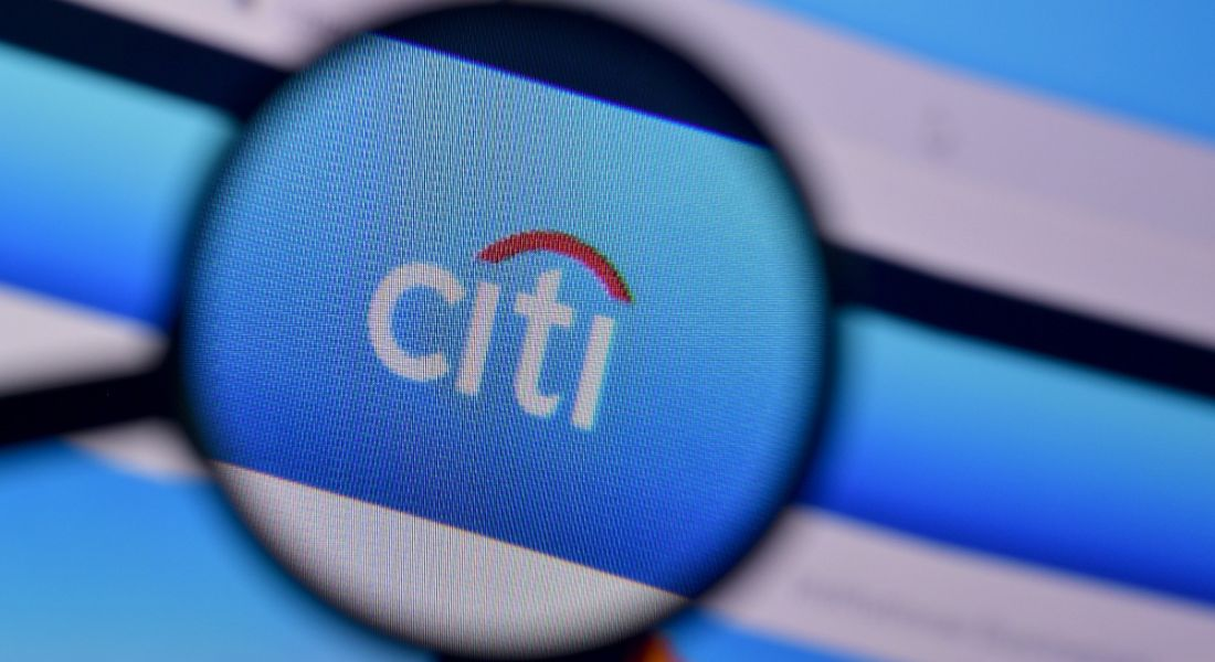 A magnifying glass hovering over the logo of Citi on its website.
